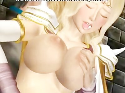 Anime girl sucks and tit fucks big dick
